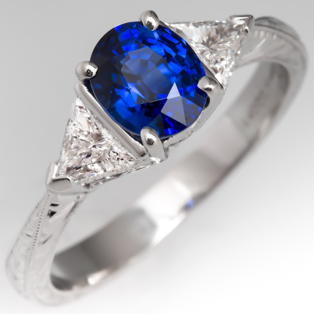 Simon G Blue Sapphire & Triangle Cut Diamond Three Stone Ring Platinum