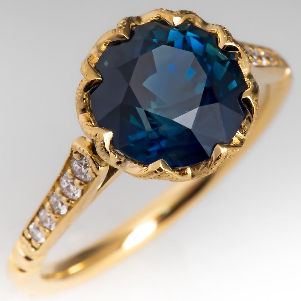 No Heat Greenish Blue Sapphire & Diamond Ring 18K Gold