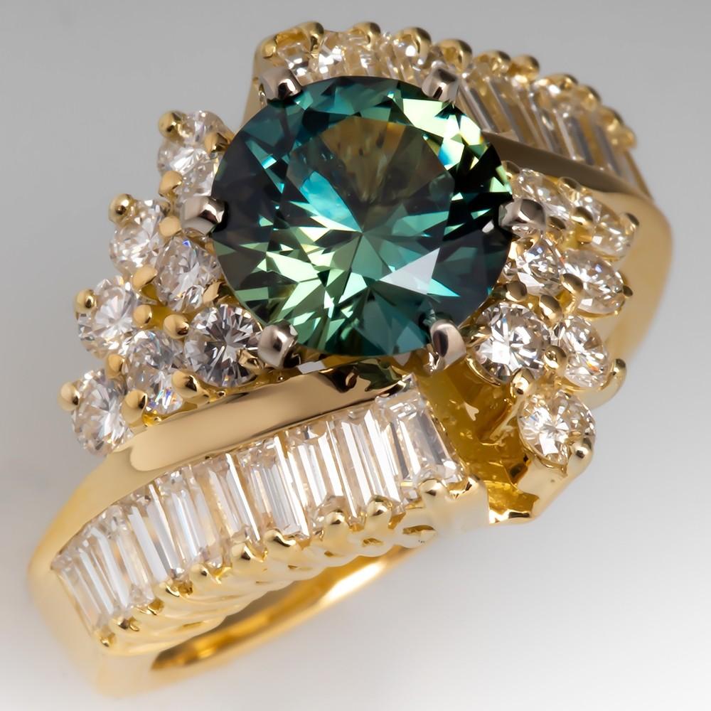Green Blue Sapphire & Diamond Cocktail Ring 18K Yellow Gold
