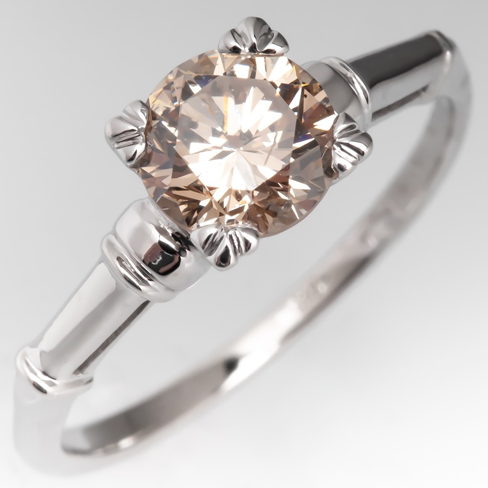 1 Carat Warm Color Diamond Vintage Engagement Ring 14K