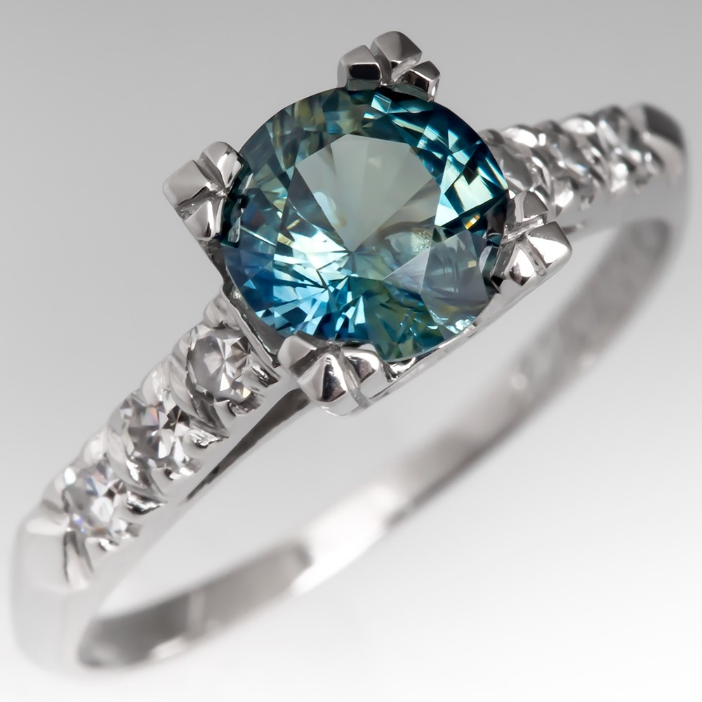 1.3 Carat No Heat Blue Green Sapphire Engagement Ring Platinum
