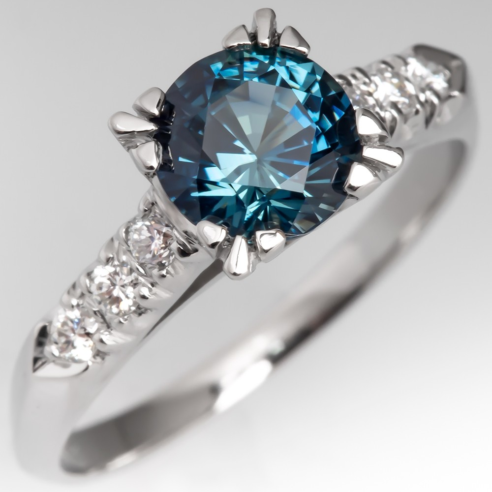 Amazing Untreated Icy Vibrant Sapphire Engagement Ring Platinum
