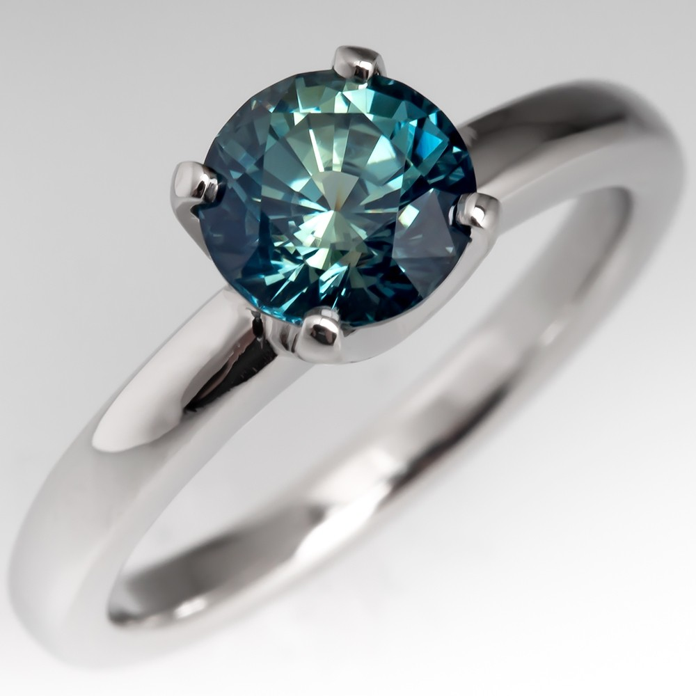 Natural Teal Sapphire Solitaire Engagement Ring Platinum 4-Prong