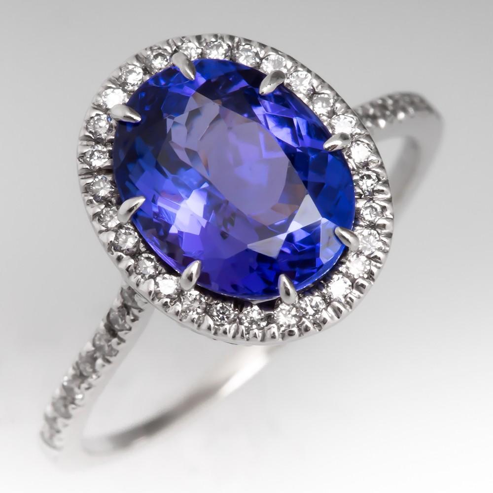 3 Carat Tanzanite & Diamond Halo Engagement Ring 18K
