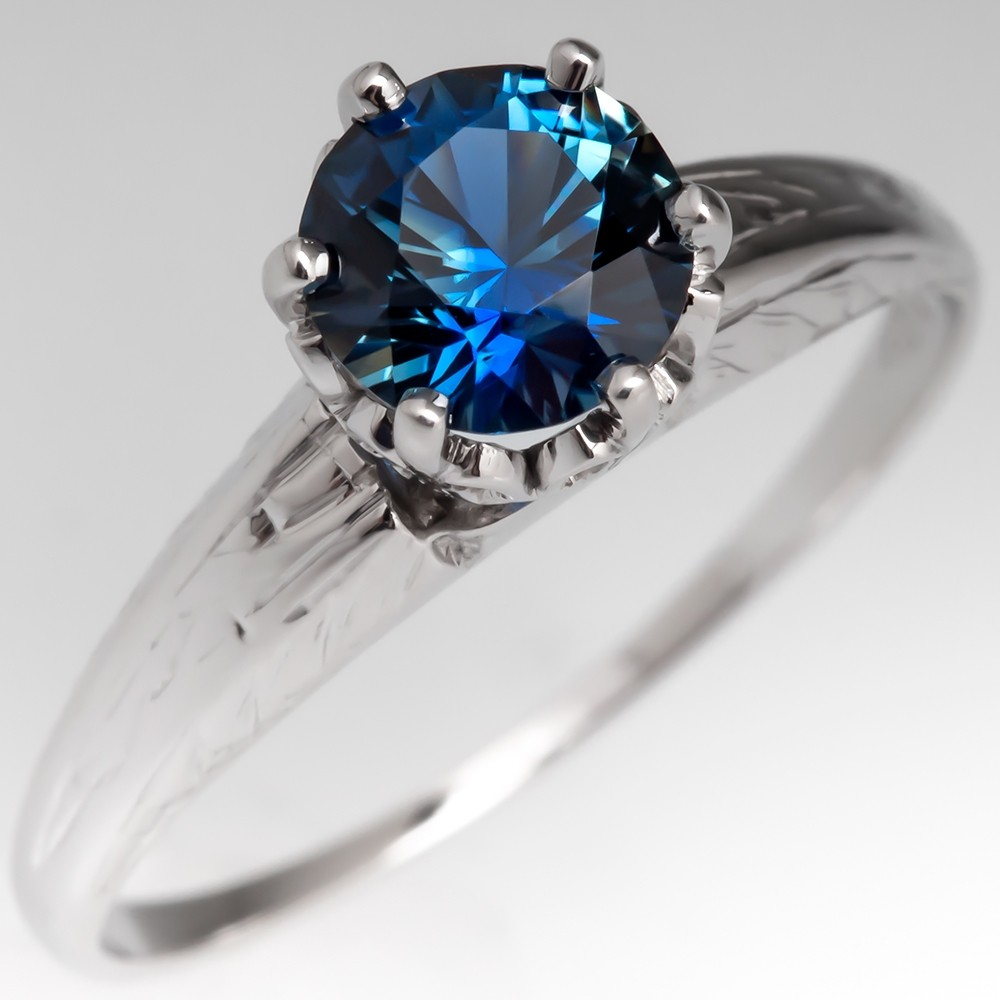 No Heat Vivid Blue Green Sapphire Solitaire Engagement Ring Crown Head