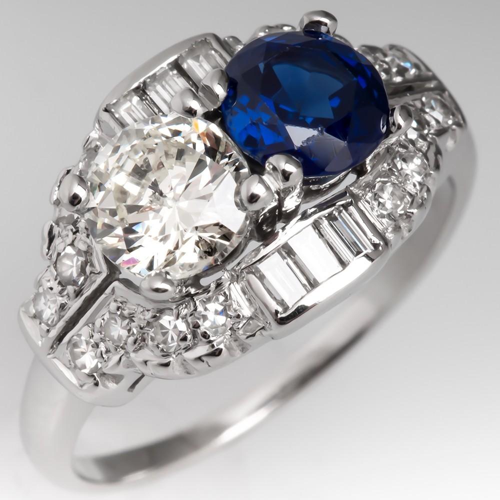 1950's Retro Vintage Twin Diamond & Sapphire Ring Platinum