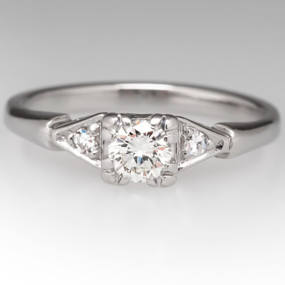 Timeless Vintage H/VVS2 Round Brilliant Diamond Engagement Ring Platinum