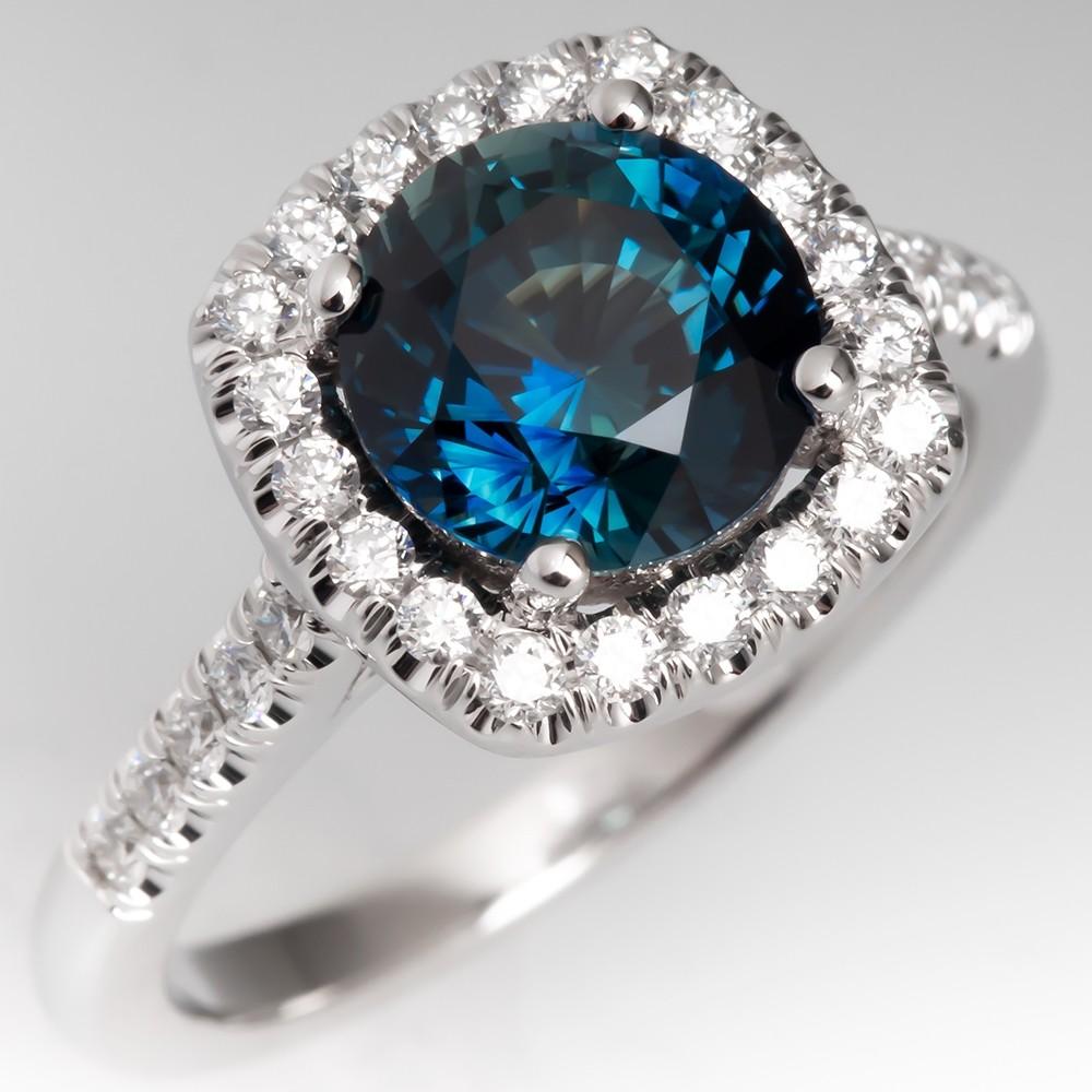 Natural Blue Green Sapphire Engagement Ring 14K Diamond Halo