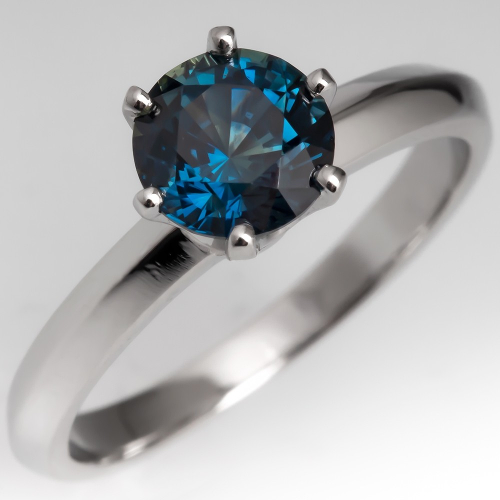 Untreated Blue Green Sapphire Solitaire Engagement Ring Platinum 6-Prong
