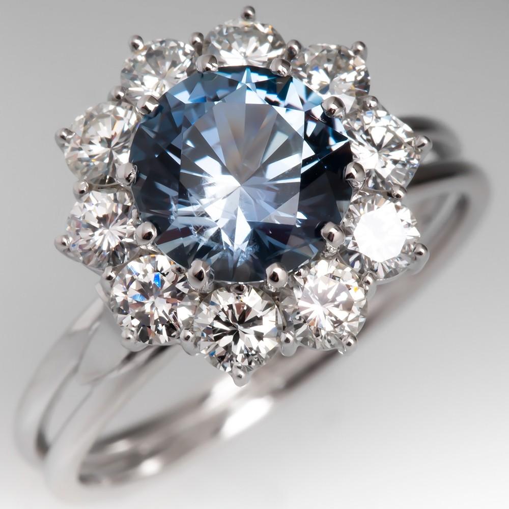 No Heat Montana Sapphire & Diamond Halo Engagement Ring 18K