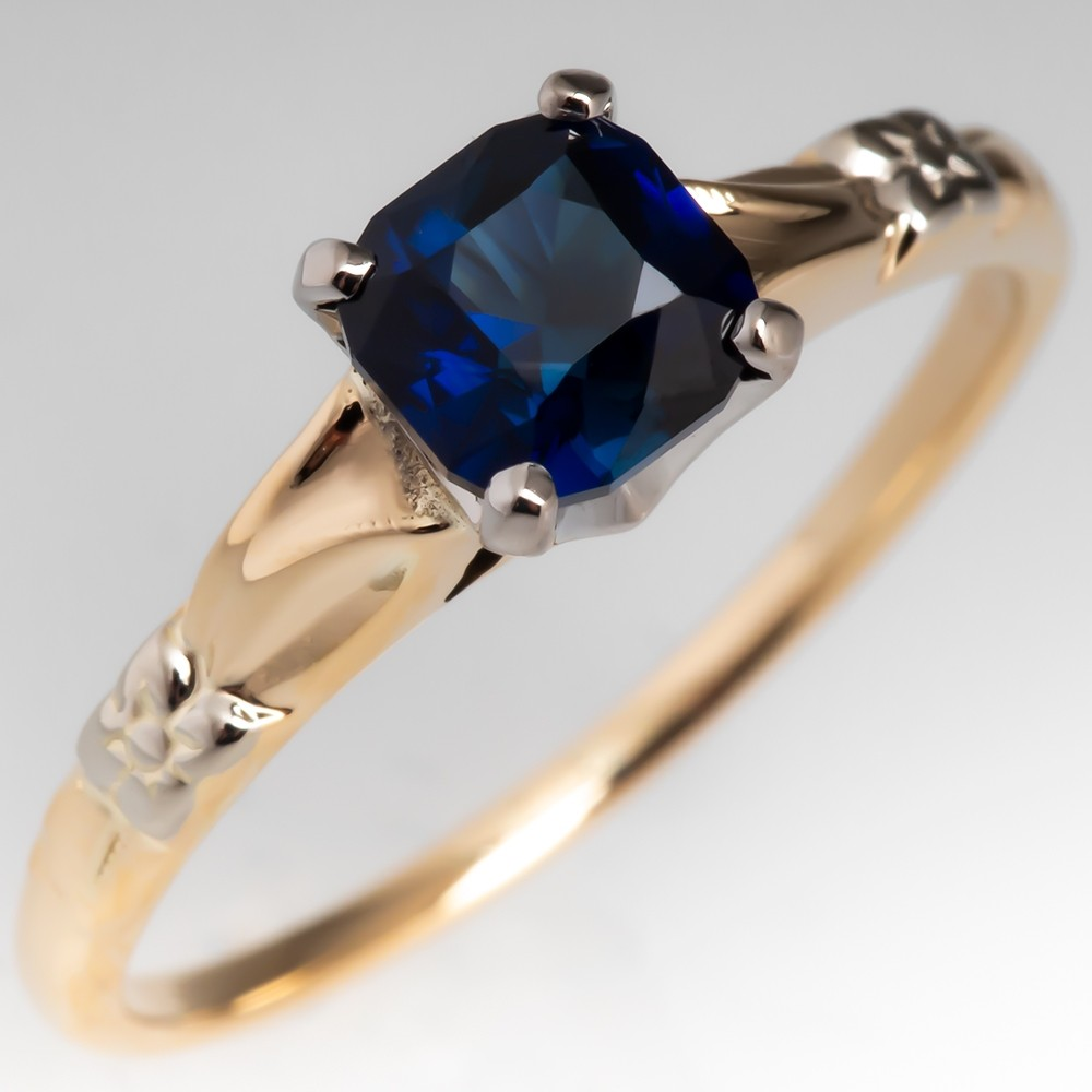 No Heat Dark Rich Vibrant Sapphire Engagement Ring Vintage 14K Mounting