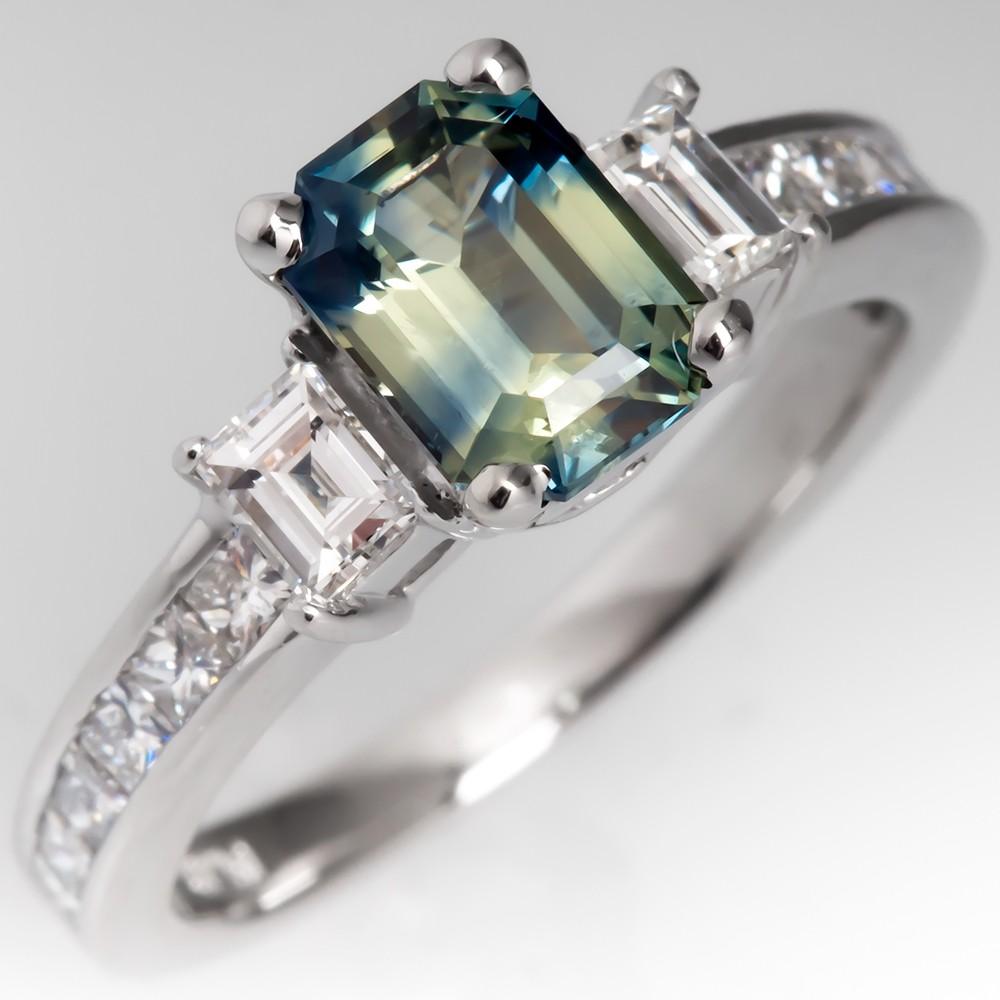 No Heat Bi Color Blue Green Sapphire Engagement Ring Platinum