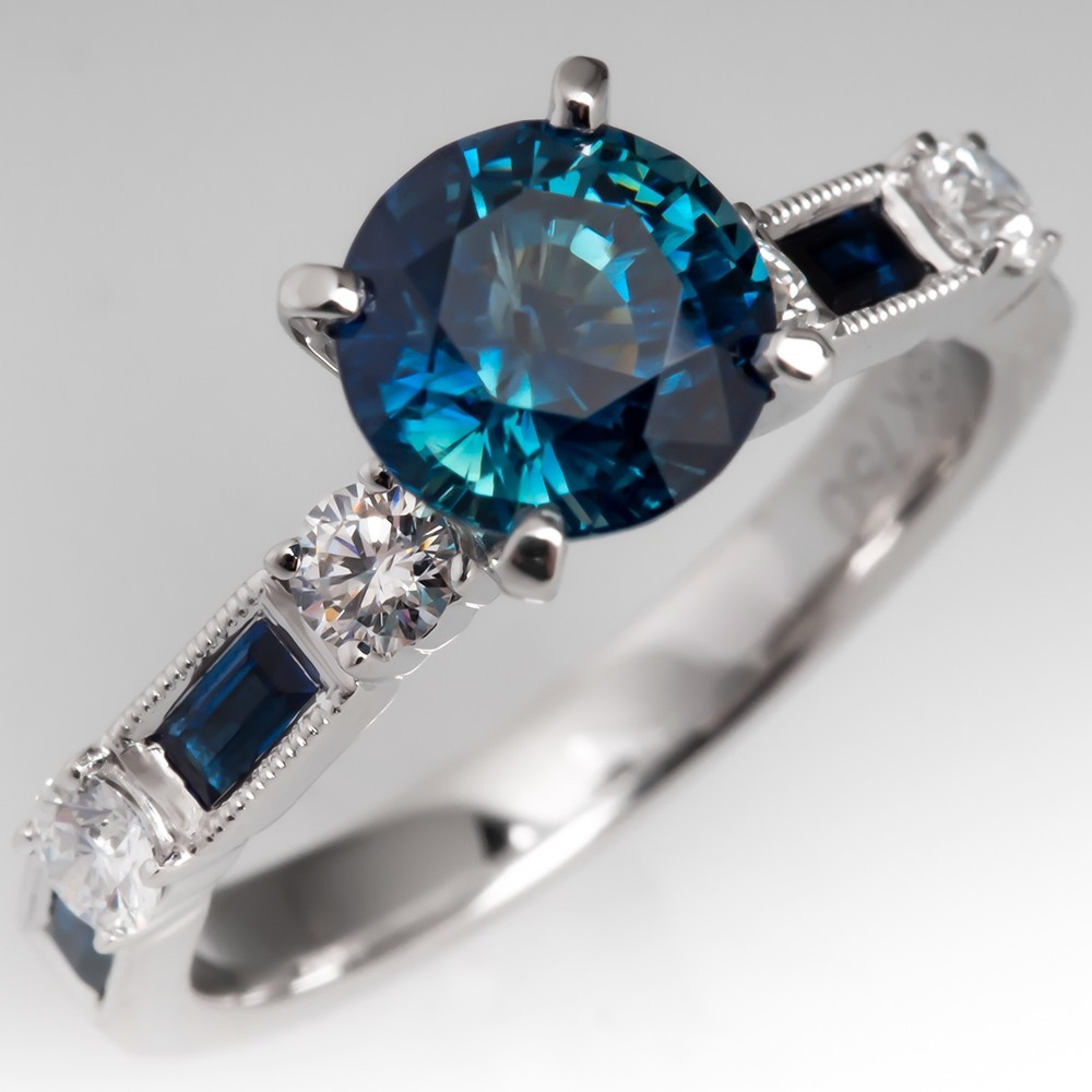 1.8 Carat No Heat Rich Blue Green Sapphire Engagement Ring 18K