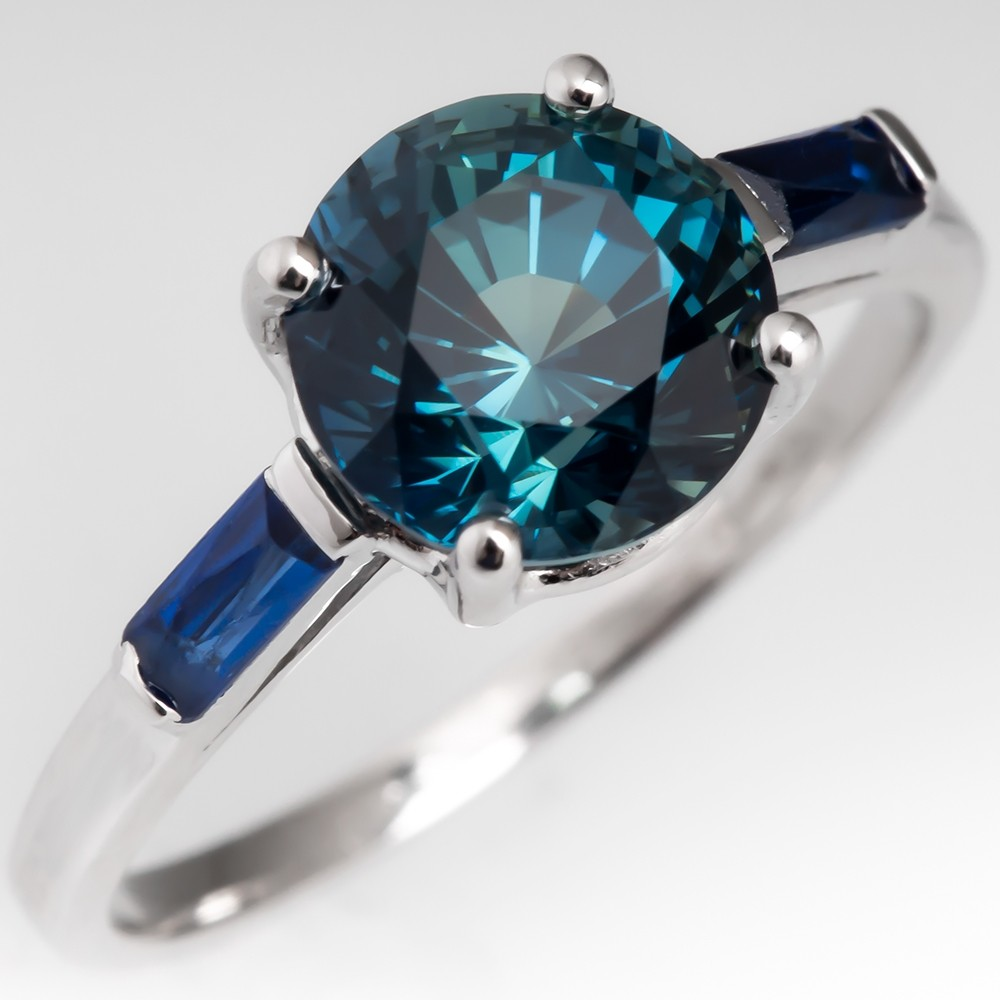 2.7 Carat No Heat Teal Sapphire Engagement Ring w/ Blue Sapph Accents