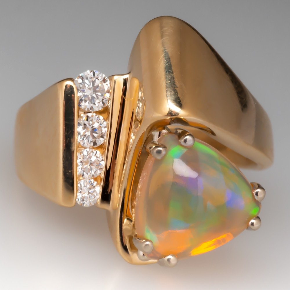 Ethiopian Opal & Diamond Vintage Cocktail Ring 14K