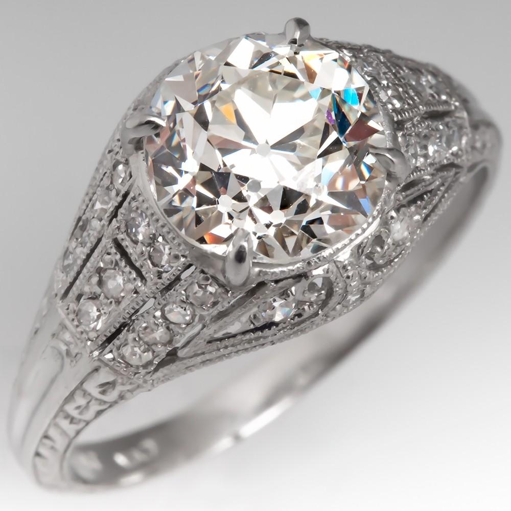 Art Deco Engagement Ring 2 Carat Old Euro Diamond Platinum