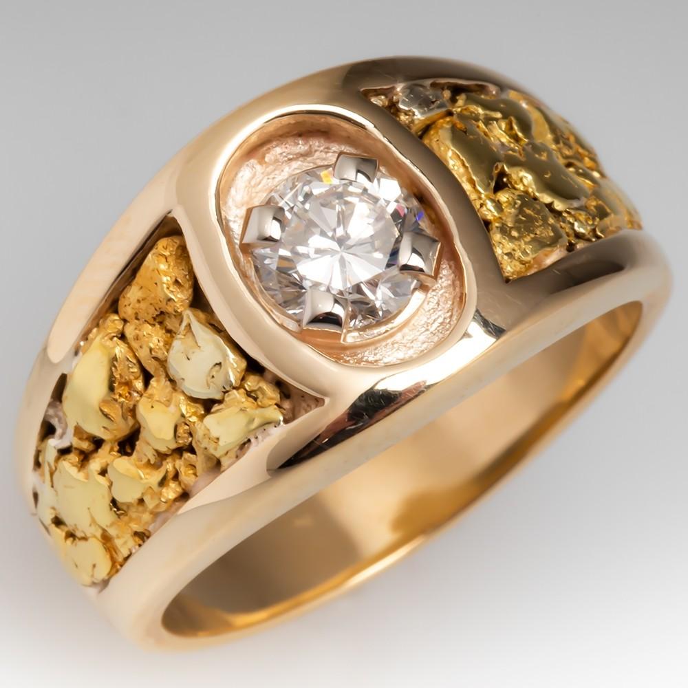 Mens Vintage Nugget Motif Diamond Ring 14K & 18K Gold