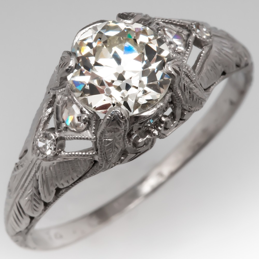 Art Deco Lovely Engraved Engagement Ring 1 Carat Old Euro Diamond Platinum