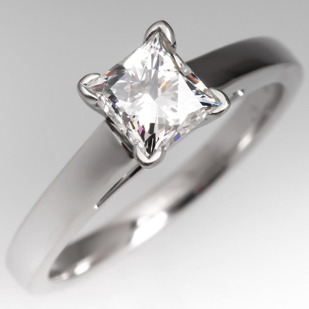 """LEO"" Princess Cut Diamond Solitaire Engagement Ring 14K"