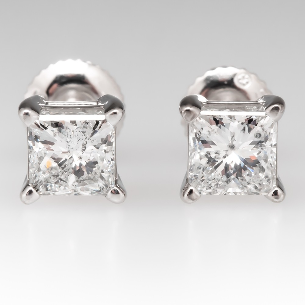 1.5 Total Carat Princess Cut Diamond Stud Earrings 14K White Gold