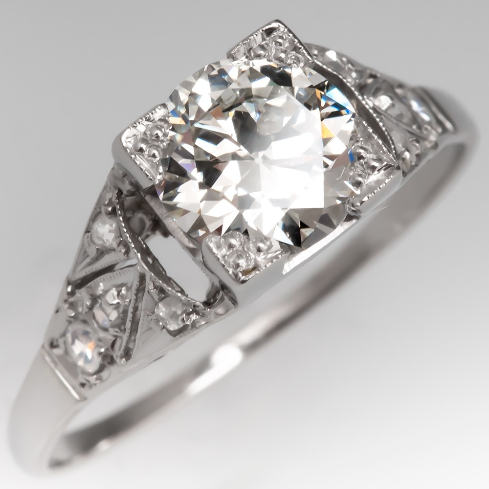 GIA 1 Carat Transitional Cut Diamond Vintage Engagement Ring