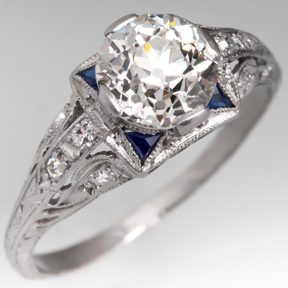 Art Deco Diamond Engagement Ring Platinum w/ Sapphire Accents