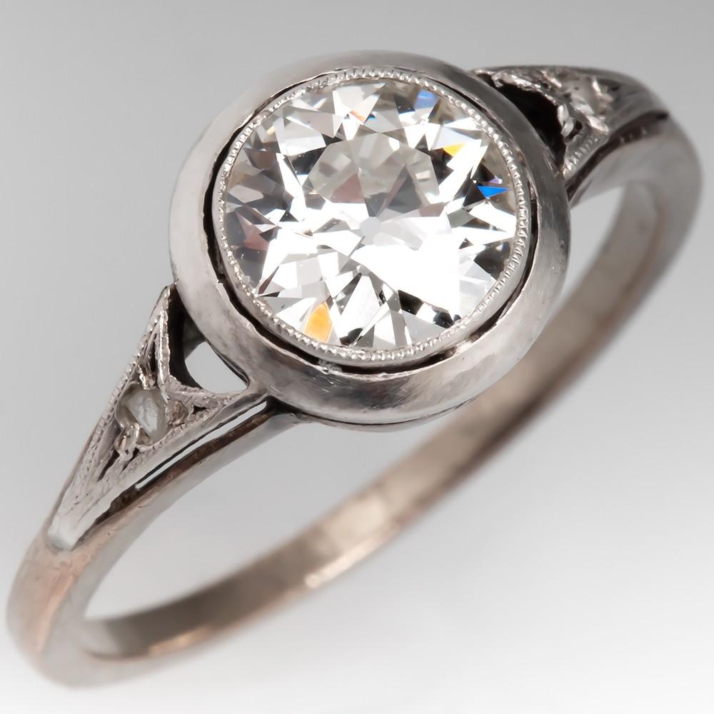 GIA Antique Bezel Set Old Euro Diamond Engagement Patina Finish
