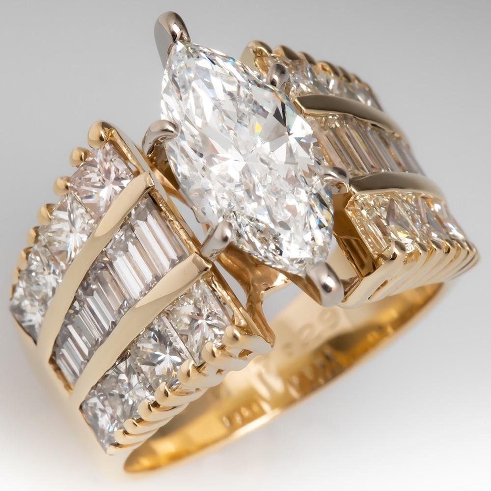 2 Carat Marquise Cut Diamond Yellow Gold Ring