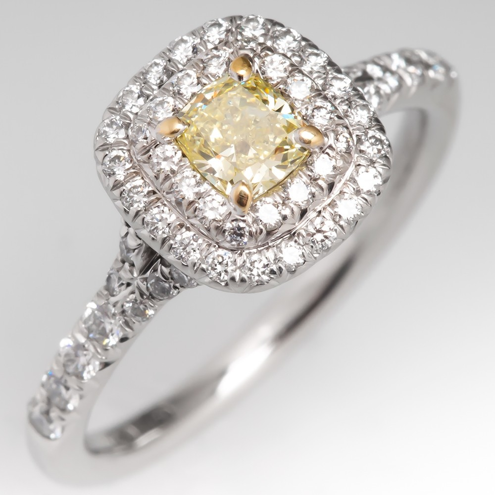 Tiffany Soleste Cushion Cut Fancy Yellow Diamond Halo Engagement Ring