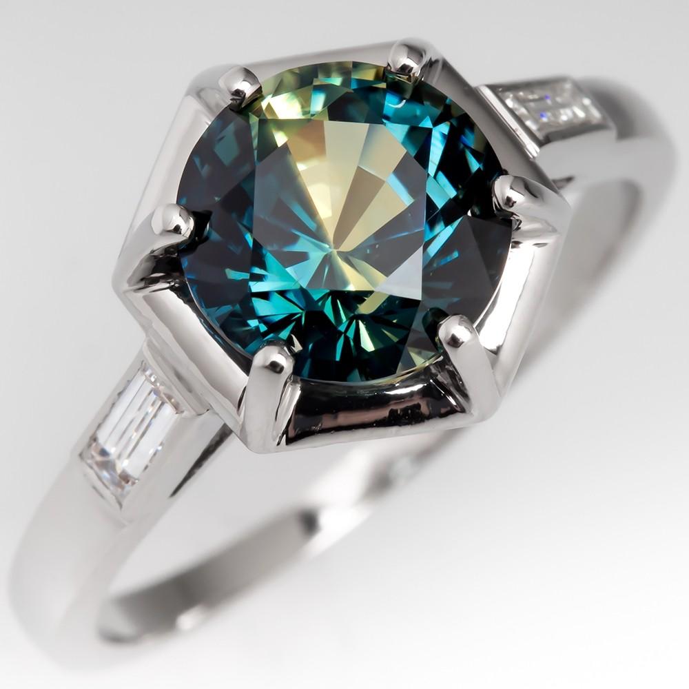 3 Carat No Heat Bi-Color Blue Green Sapphire Engagement Ring Geometric