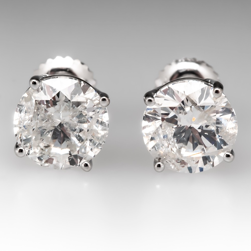 4 Total Carat Round Brilliant Diamond Stud Earrings 4-Prong 14K