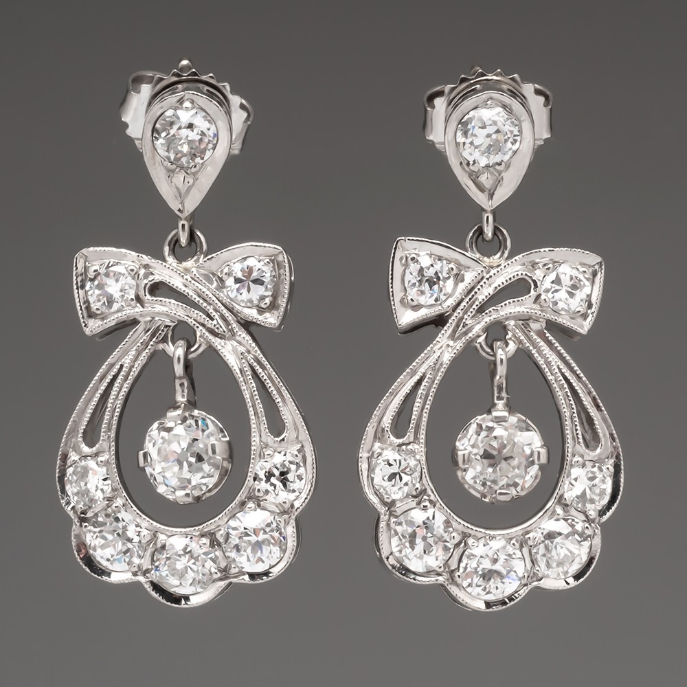 Beautiful Antique Dangle Earrings Old Mine & Euro Cut Diamonds