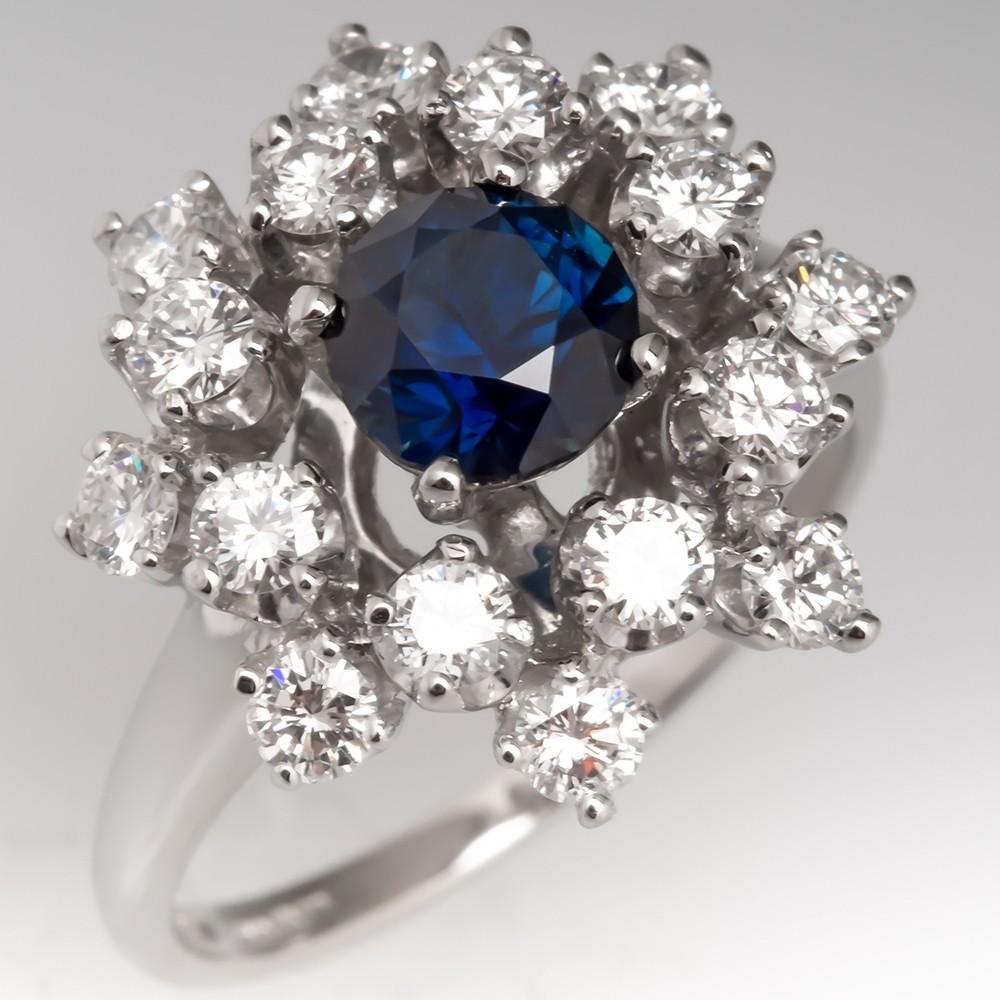 Untreated Dark Blue Sapphire & Diamond Cocktail Ring Platinum