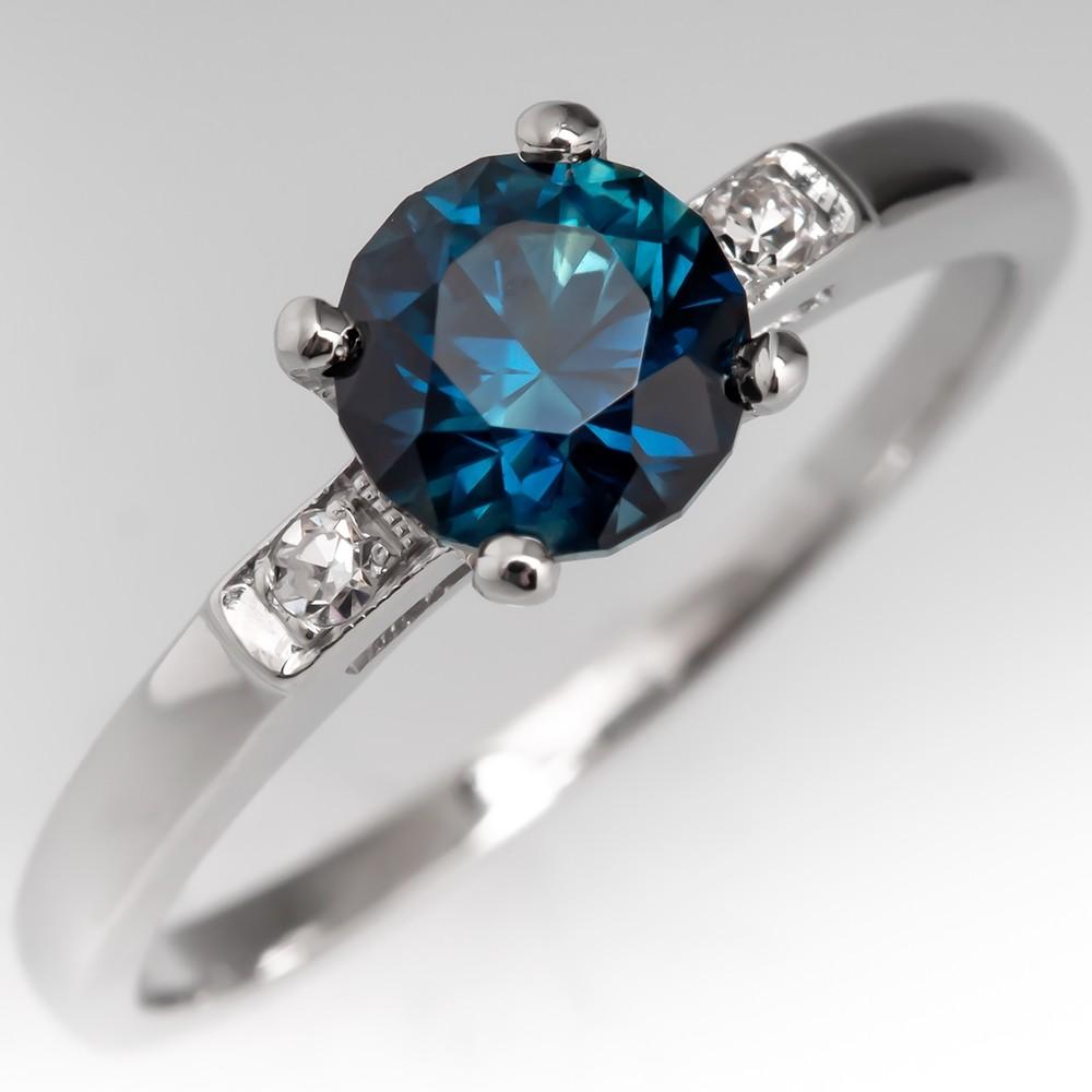 No Heat Rich Peacock Blue Green Sapphire Engagement Ring Platinum