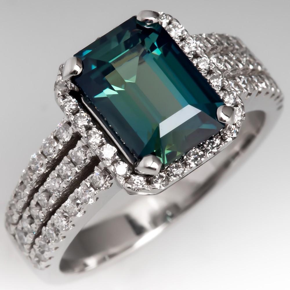 No Heat Emerald Cut Blue Green Sapphire Engagement Ring 18K