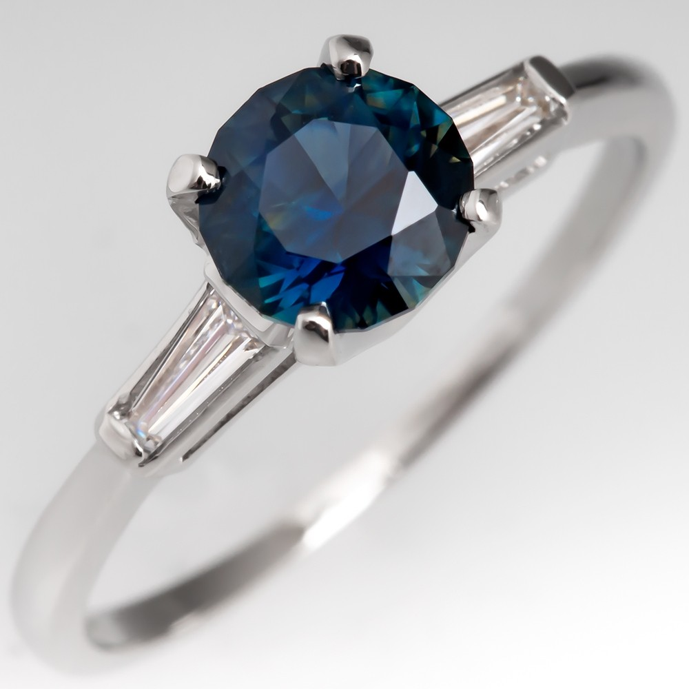 Untreated Dark Teal Sapphire Engagement Ring Tapered Baguette Diamonds Platinum