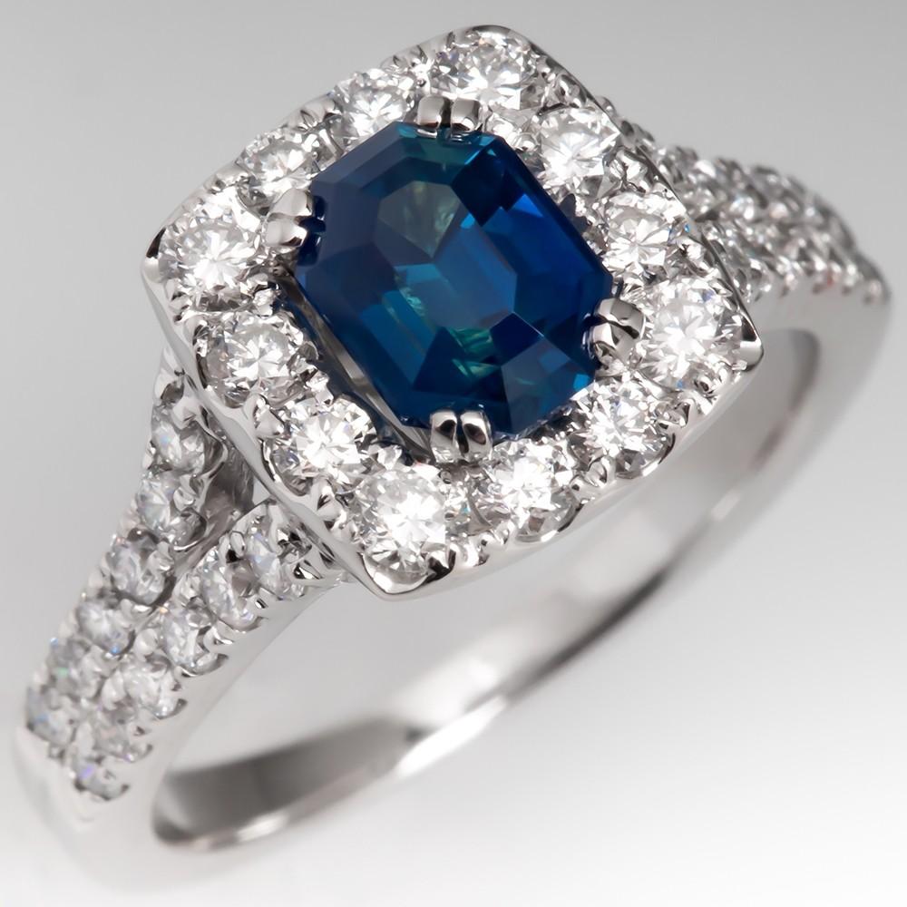 No Heat Blue-Green Sapphire & Diamond Halo Engagement Ring