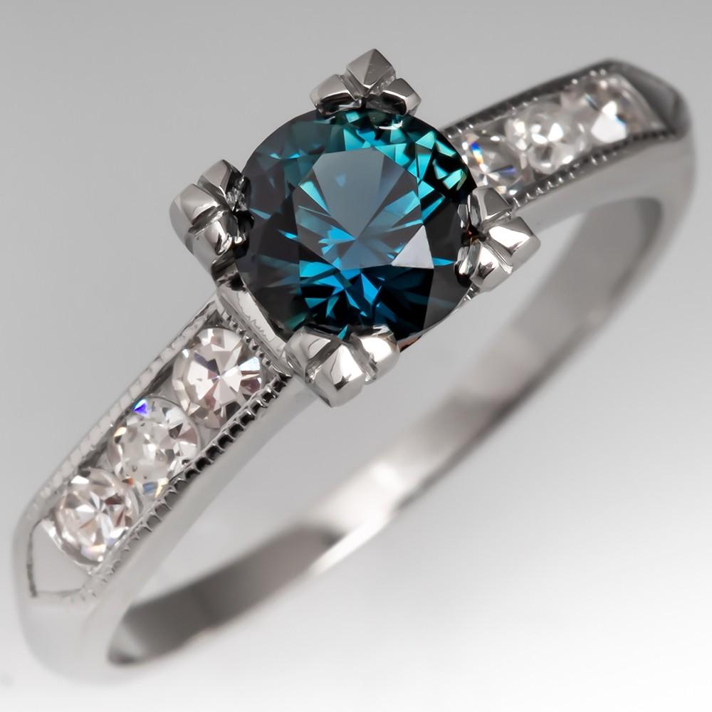 No Heat Teal Sapphire Engagement Ring 1940's Platinum Mount