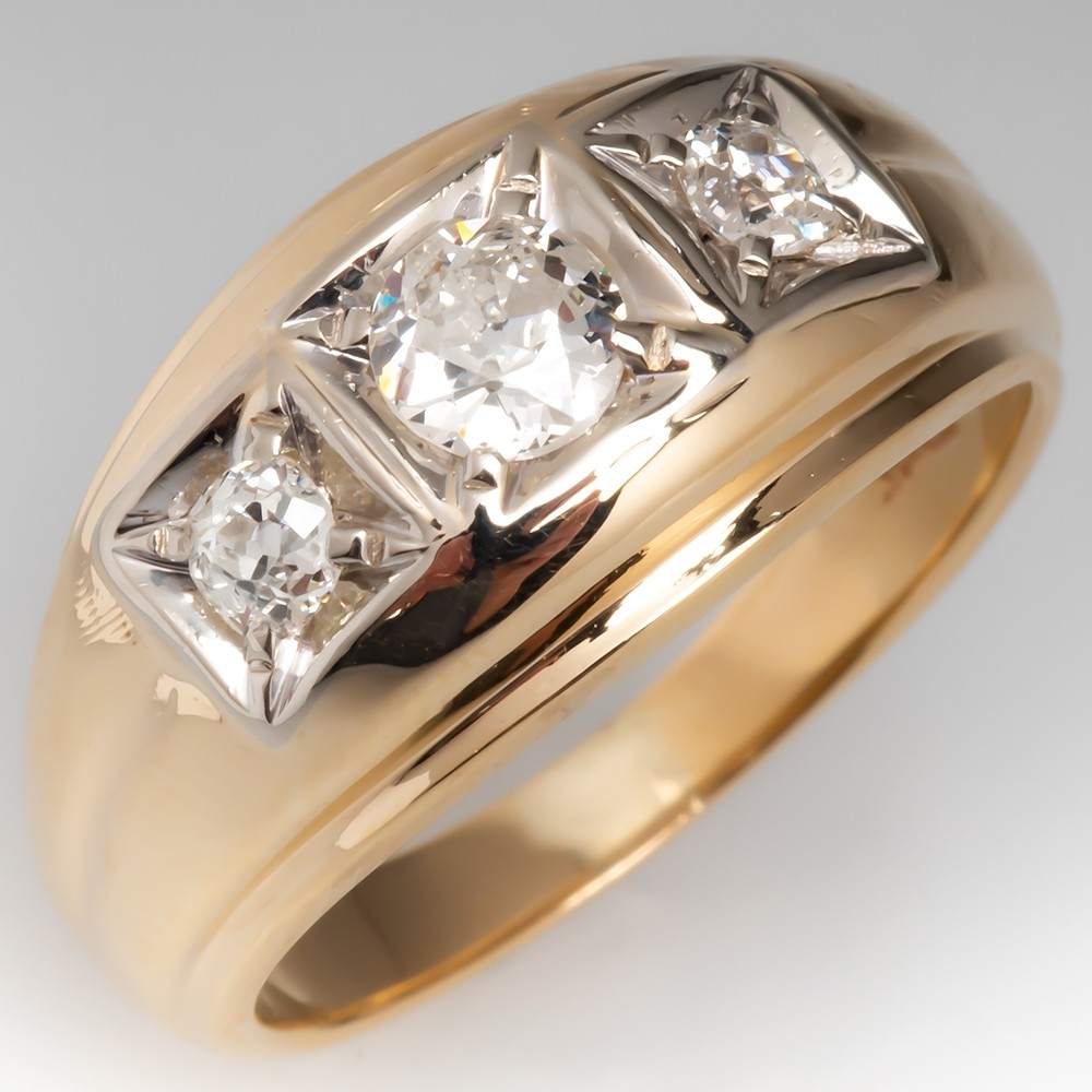 Mens Three Stone Antique Diamond Ring 14K Gold
