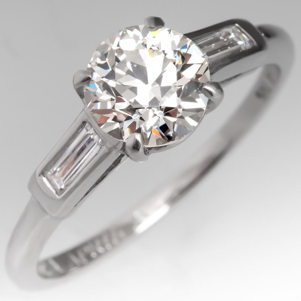 GIA 1 Carat Old Euro Diamond Vintage Engagement Ring w/ Baguettes