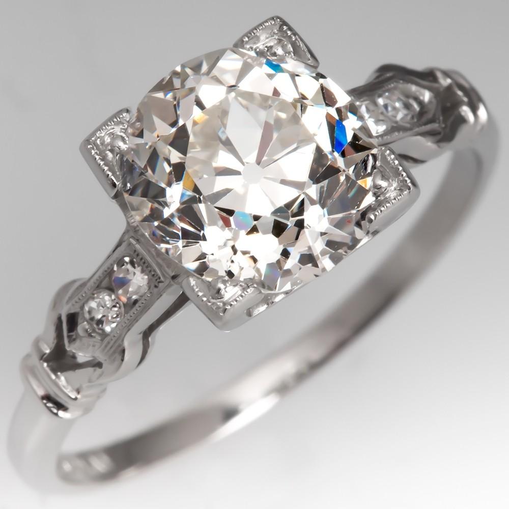Edwardian Engagement Ring GIA 2 Carat Old Euro Diamond
