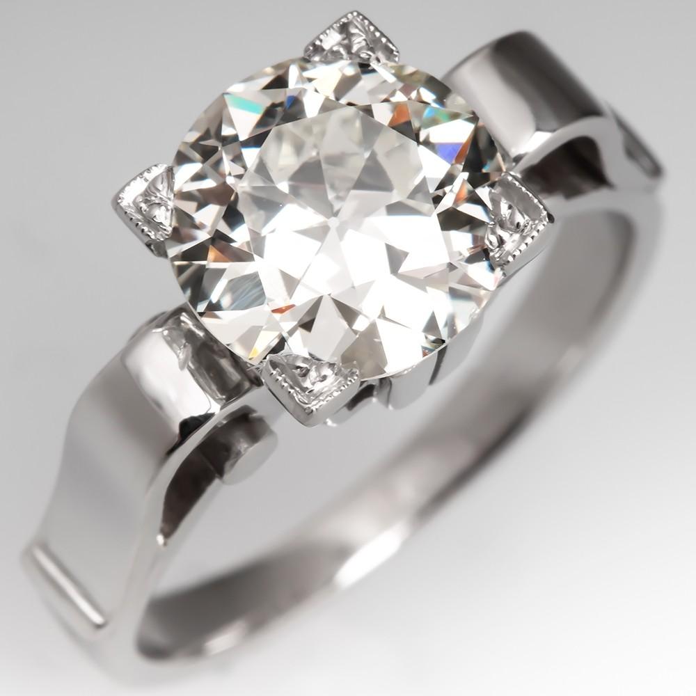 GIA 2 Carat Old Euro Diamond Vintage Retro Engagement Ring