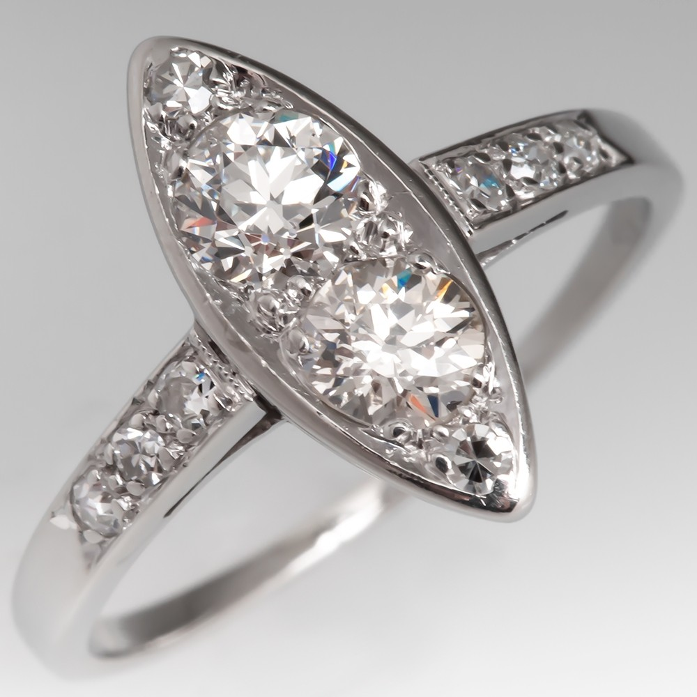 Antique Marquise Shaped Engagement Ring Old Euro Diamonds