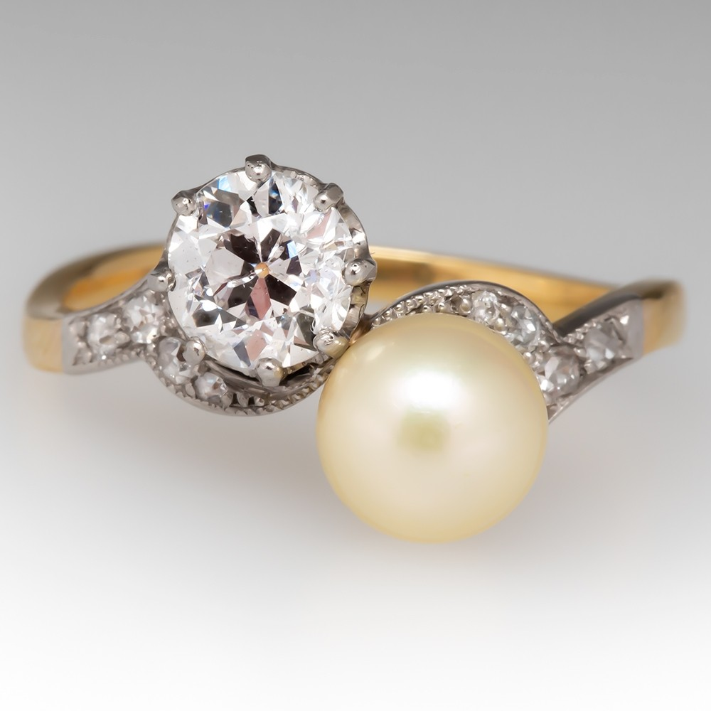 1890's French Antique Diamond & Pearl Bypass Ring