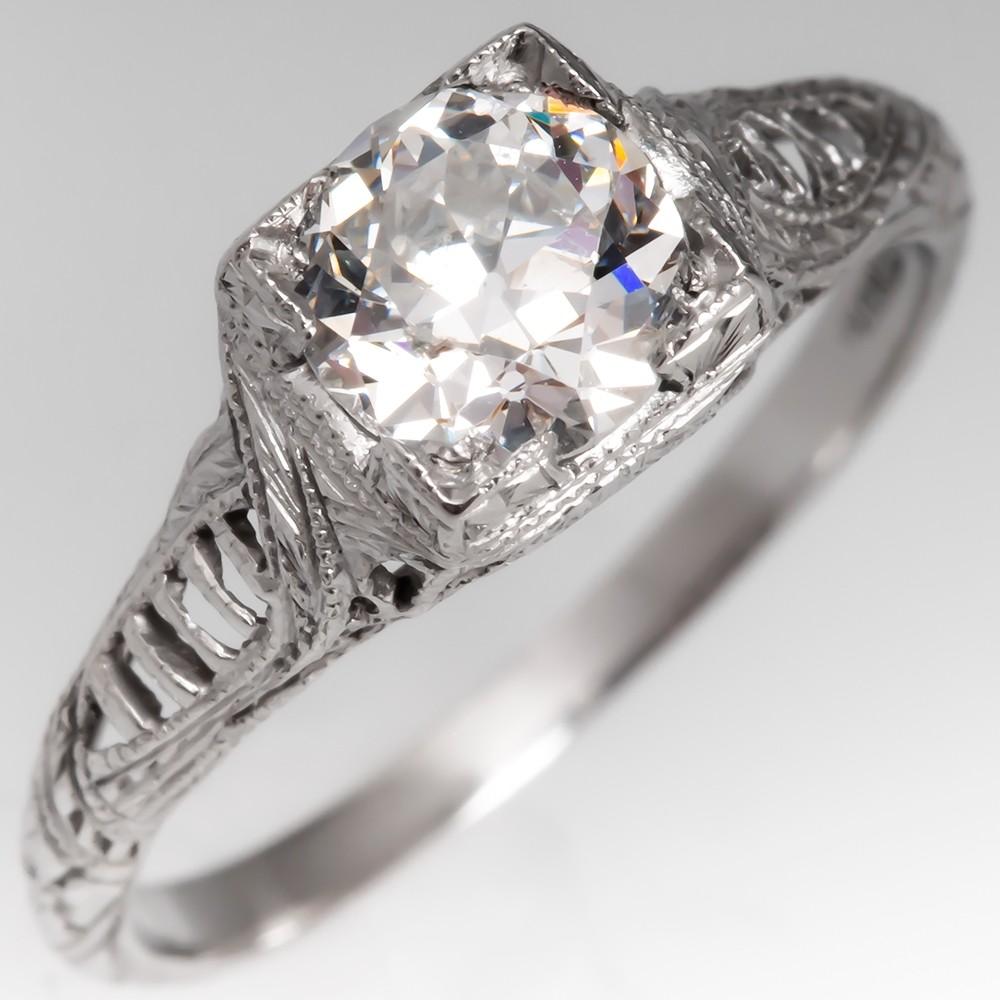 Antique 1920's Filigree Diamond Solitaire Ring Platinum