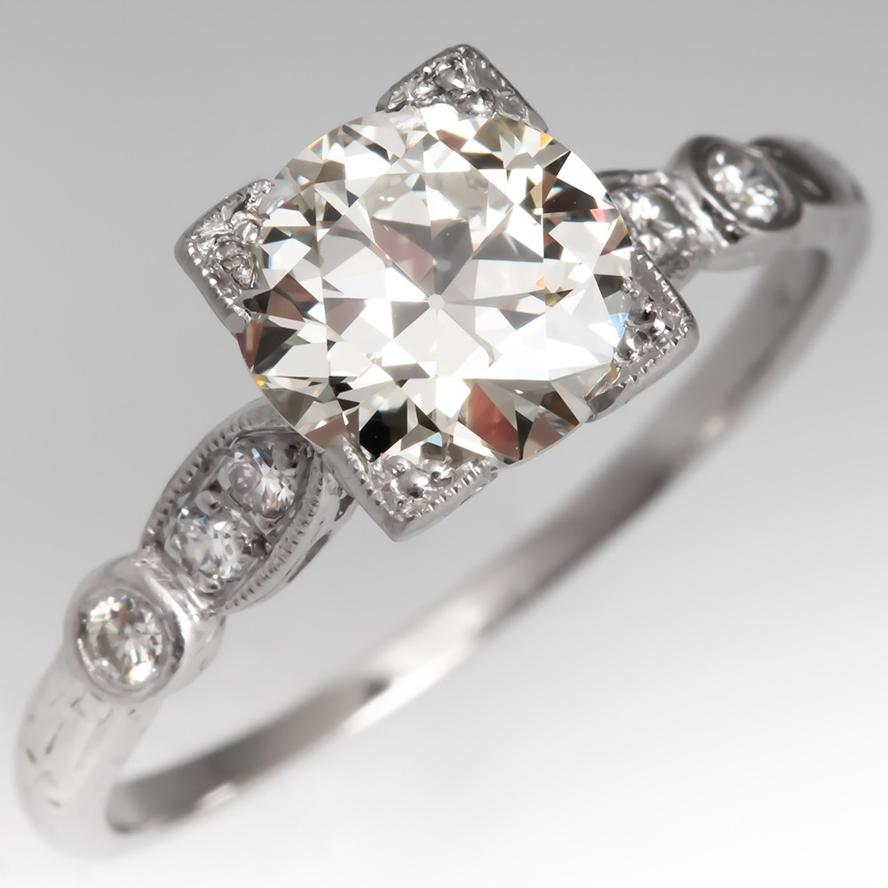 Perfect Vintage Diamond Engagement Ring Platinum 1.36Ct