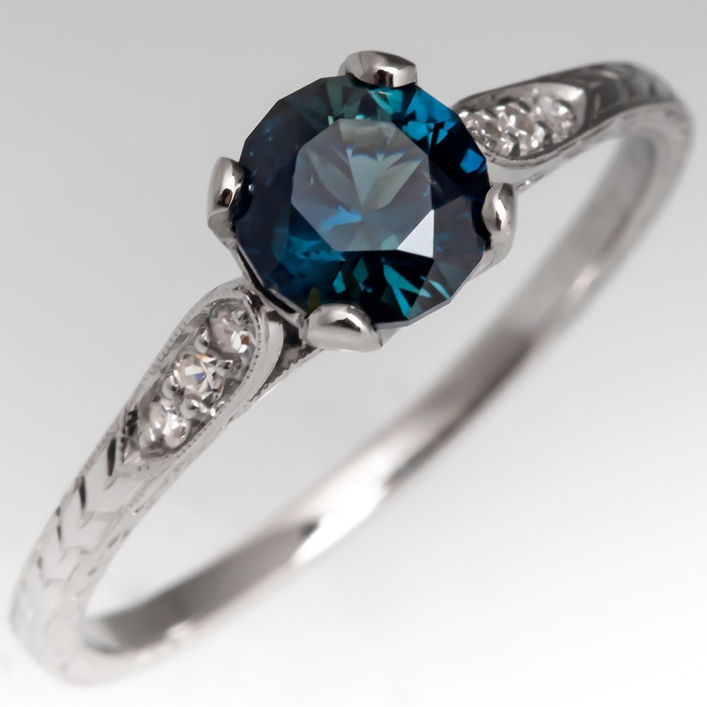 No Heat Peacock Blue Green Sapphire Engagement Ring Platinum Engraved