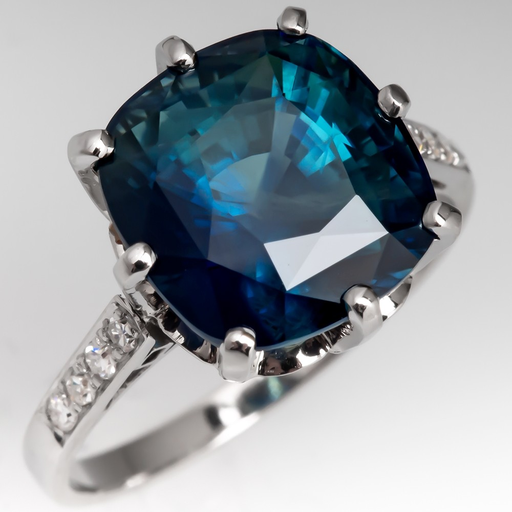 7 Carat Dark Blue Green Sapphire Ring Vintage Platinum Diamond Mounting