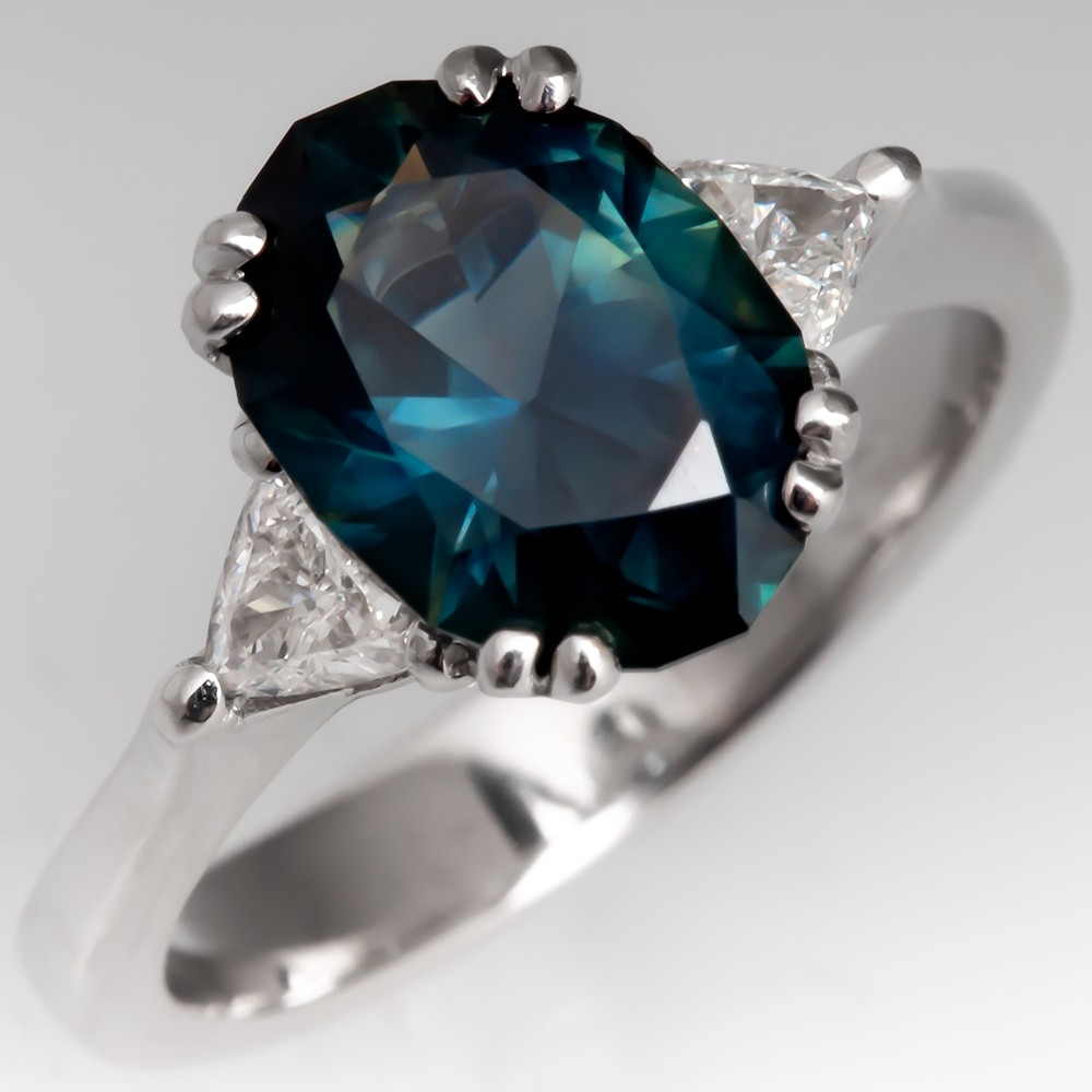 2 Carat No Heat Dark Green-Blue Sapphire Engagement Ring w/ Triangle Diamonds