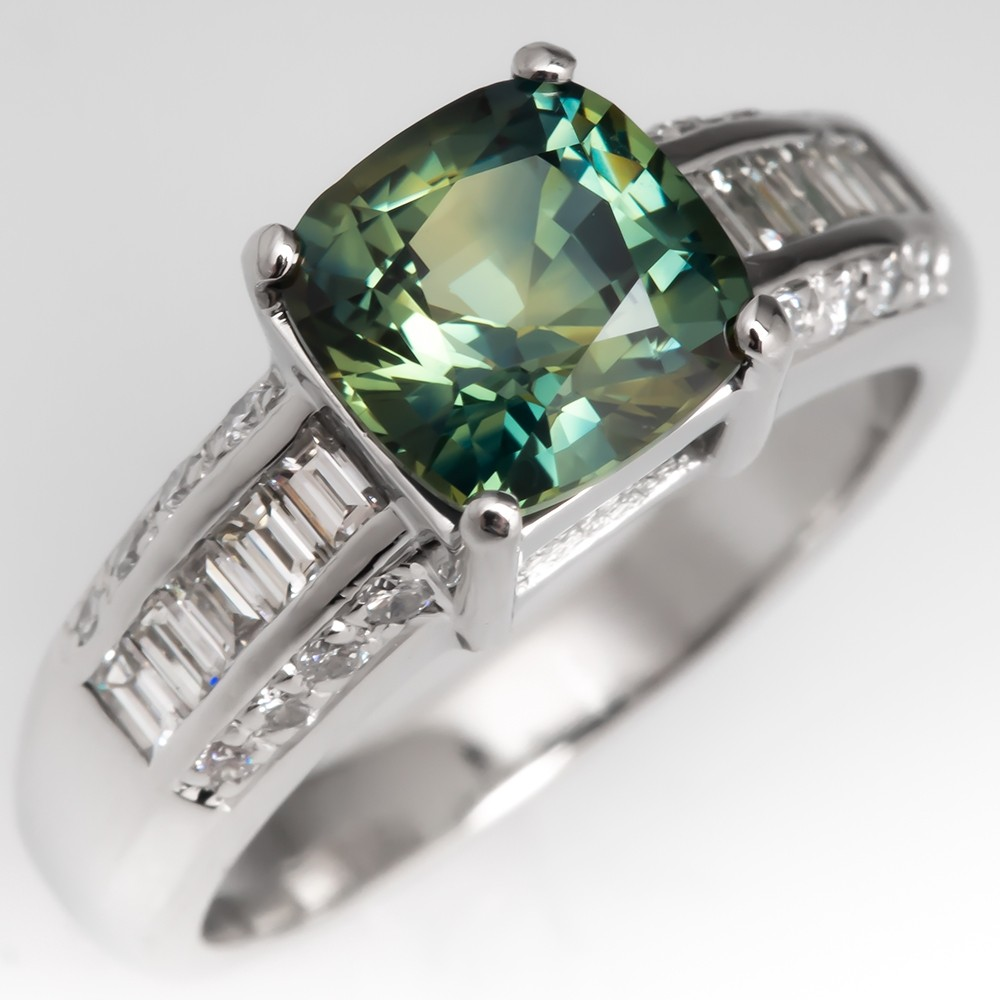 No Heat Vibrant Green Sapphire Engagement Ring Wide Band